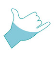 drawing hand man shaka surfing gesture icon vector image