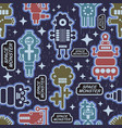 endless pattern with funny monsters from the space vector image vector image