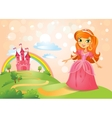 Fairy Tale castle and Beautiful princess vector image