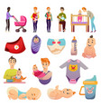 fathers parental leave orthogonal icons vector image