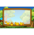 Frame template with four ducks in the park vector image vector image
