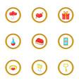gift box icons set cartoon style vector image vector image