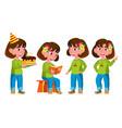 girl kindergarten kid poses set emotional vector image vector image