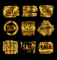 golden discount and price tag sale banners with vector image vector image