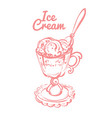 hand drawn melting ice cream scoops in cup vector image