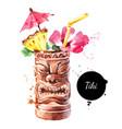 hand drawn sketch watercolor cocktail tiki mug vector image vector image