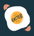 happy easter holiday word on broken egg cartoon vector image