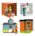 inspectors checking room water heater and house vector image vector image