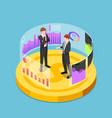 isometric business people standing on dollar coin vector image