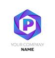 letter p logo symbol on colorful hexagonal vector image