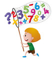 little boy catching numbers with net vector image vector image