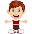 Little boy wearing a red shirt cartoon vector image vector image
