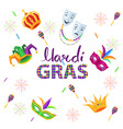 magri gras carnival flat concept with masks vector image vector image