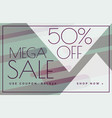mega sale offer discount banner voucher template vector image