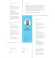 minimalist light resume cv template vector image vector image
