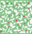 mint green red white holly berry holiday vector image vector image