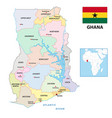 new administrative map ghana with flag 2019 vector image vector image