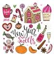 New Year Sweets set Christmas hand drawn vector image vector image