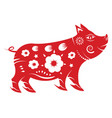 pig zodiac chinese new year 2019 concept paper vector image