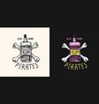 pirate rum on a background bones logo marine vector image vector image