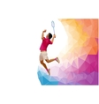 Polygonal professional badminton player during vector image vector image