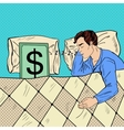 Pop Art Man Sleeping in Bed with Dollar Banknote vector image vector image