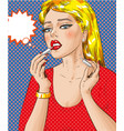 pop art of woman painting her vector image vector image