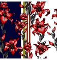 red lilies pattern seamless vector image