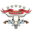 rodeo emblem with bull skull and revolvers vector image vector image