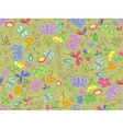 Seamless doodle pattern background with flower and vector