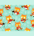 seamless pattern with owl cartoon playing music vector image