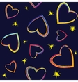 Seamless pattern with painted hearts vector image vector image