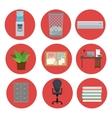set equipment office elements icon circle vector image