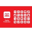 Set of digital protection simple icons vector image vector image
