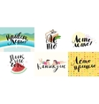 Set of russian lettering on summer and vacation vector image vector image