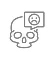skull with sad face in speech bubble line icon vector image vector image