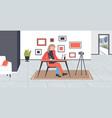 student blogger using laptop doing homework vector image