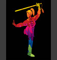 woman with sword action kung fu pose graphic vector image