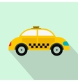 Yellow taxi flat icon vector image