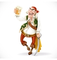 Drunken pirate with a glass of beer is based on vector image