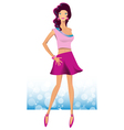 Sexy girl standing in a beautiful dress vector image