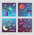 invitation congratulation cards set memphis style vector image