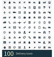 100 delivery icons set vector image
