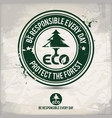 alternative eco friendly forest stamp vector image vector image