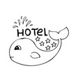 banner for 5 star hotel with cute hand-drawn vector image