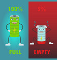 battery cartoon character icons for full and vector image vector image