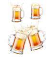beer mug 3d photo realistic set vector image vector image