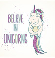 believe uin unicorns quote with sparkles vector image