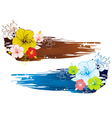 bouquet of hibiscus on grunge background vector image