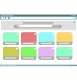 Browser frame design with color windows inside vector image